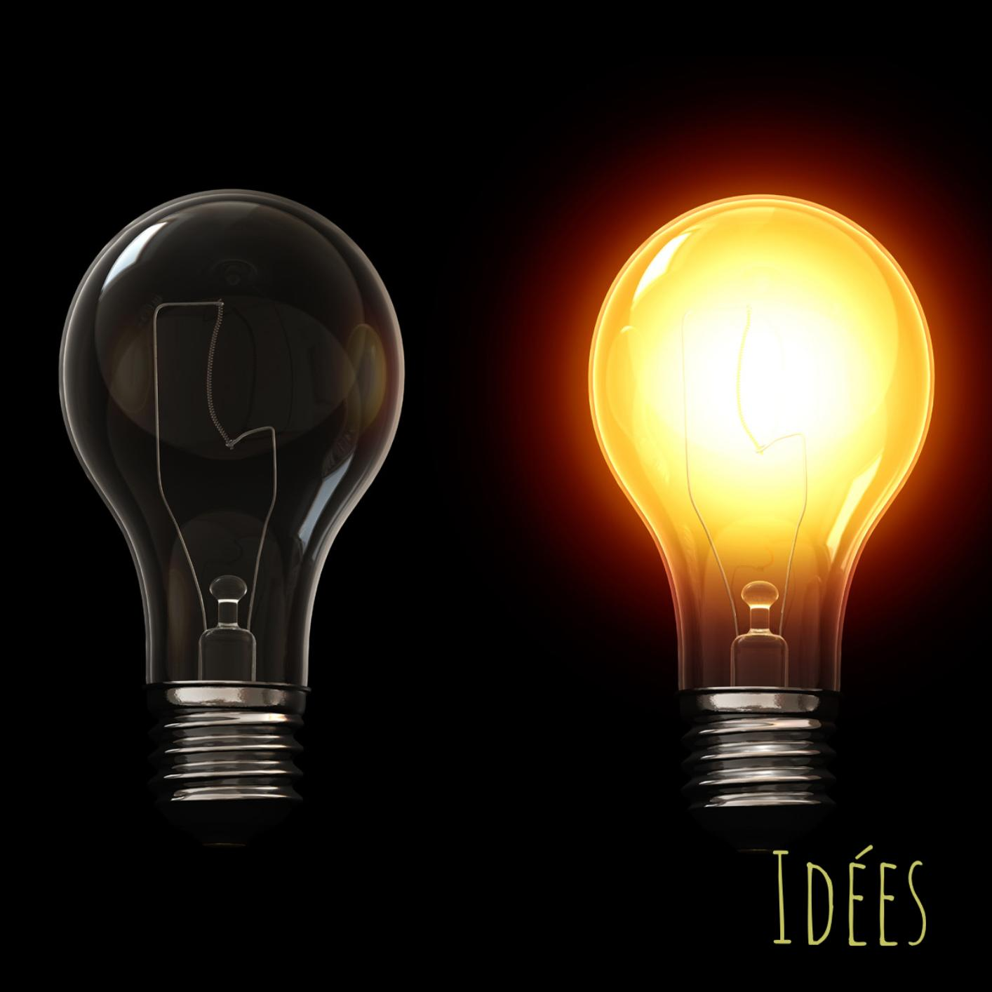 Two lights bulbs one off and one on to illustrate the birth of new ideas